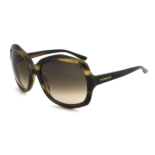 Yves Saint Laurent YSL 6375/S 792DB Square Sunglasses with a Striped Khaki Frame and Olive Green Gradient Lens