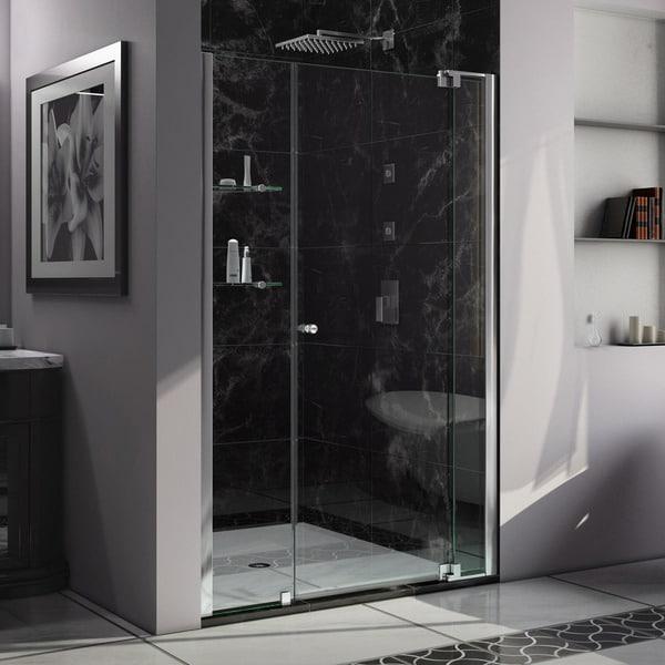 DreamLine Allure 52 to 53 in. Frameless Pivot Shower Door, Clear Glass Door in Chrome Finish