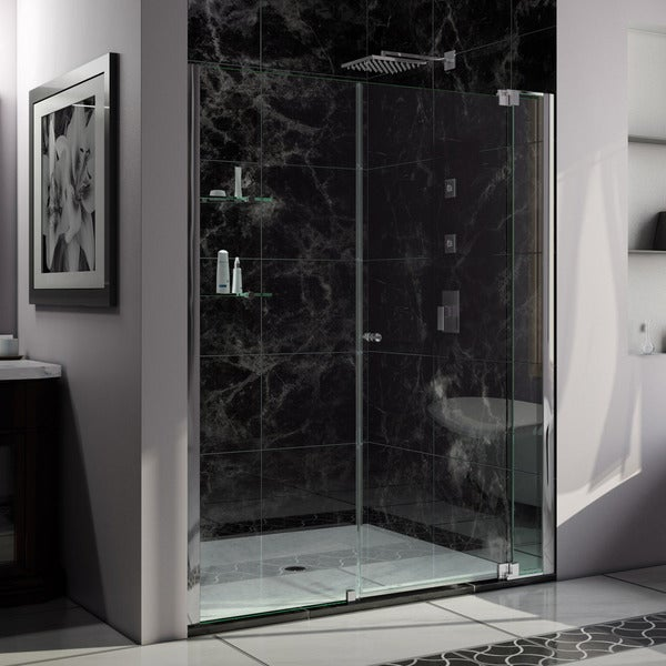 DreamLine Allure 55 to 56 in. Frameless Pivot Shower Door, Clear Glass Door in Chrome Finish
