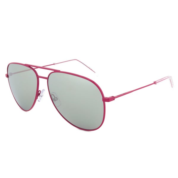 Saint Laurent Paris Classic 11 28KJ5 Aviator Sunglasses with a Fuschia Frame and Silver Mirrored Lenses