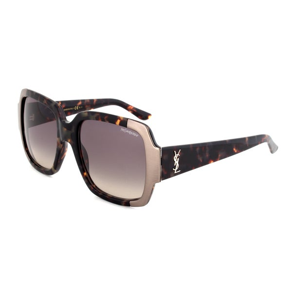 Yves Saint Laurent YSL 6381/S 7EPDX Square Sunglasses with a Dark Havana Frame and Grey Gradient Lens