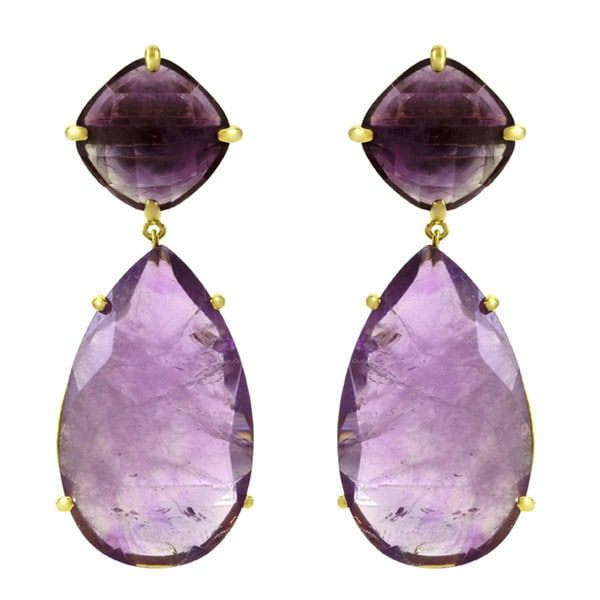 Purple CZ Pear Drop Earrings