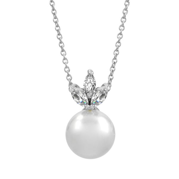 Bridal Jewelry: Elegant CZ Petal & pearl Necklace 16186914
