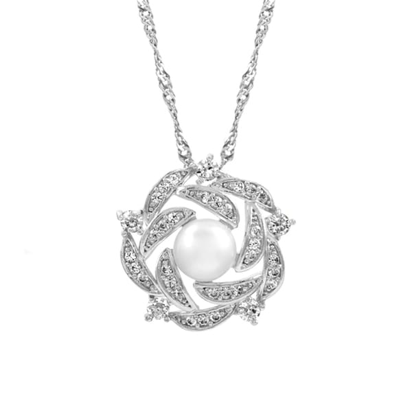 Bridal Jewelry: Woven Cluster CZ & Pearl Necklace 16186916