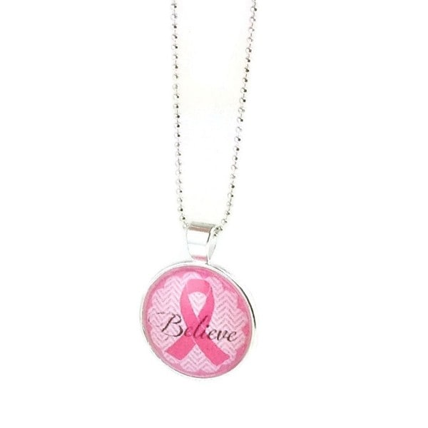 Mama Designs Handmade Breast Cancer Awareness Pink Ribbon Believe Necklace
