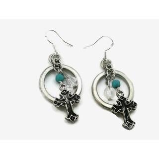 Mama Designs Handmade Western Style Cross Drop Earrings