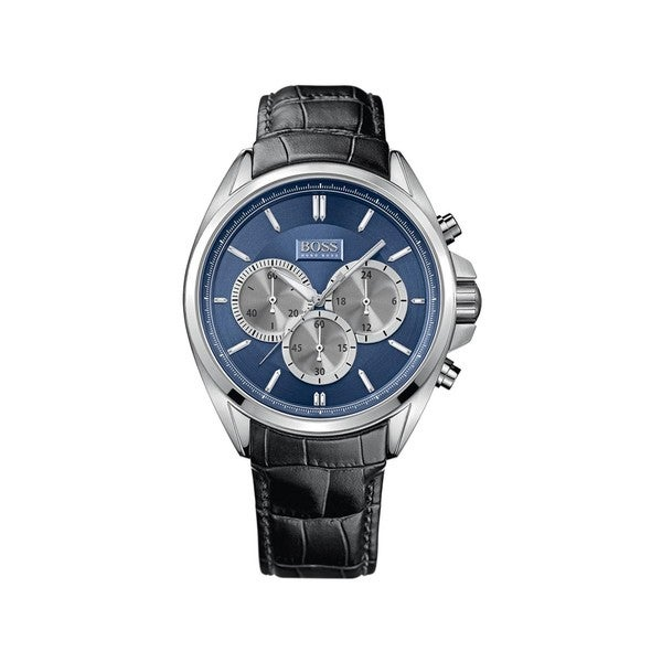 Hugo Boss Men's Chronograph Blue Dial Black Leather Watch 1512882