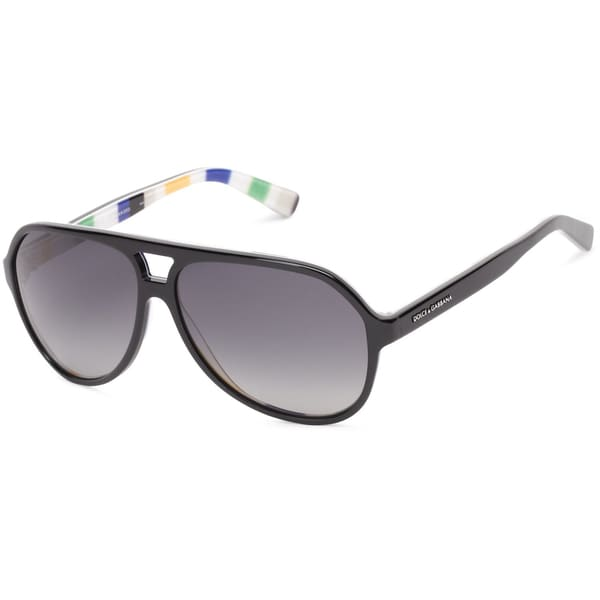 Dolce & Gabbana Catwalk Black On Stripes Sunglasses (Polarized Gray Lens)