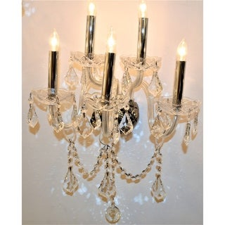 Venetian Italian Style 5-light Chrome Finish and Clear Crystal Candle Wall Sconce