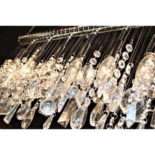"Modern 6 Light Chrome Finish 24"" Wide Crystal Linear Vanity Wall Sconce"