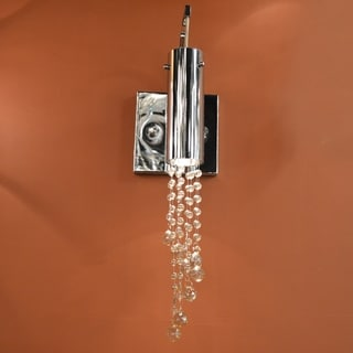 Modern 1 Light LED Chrome Finish and Clear Crystal Wall Sconce