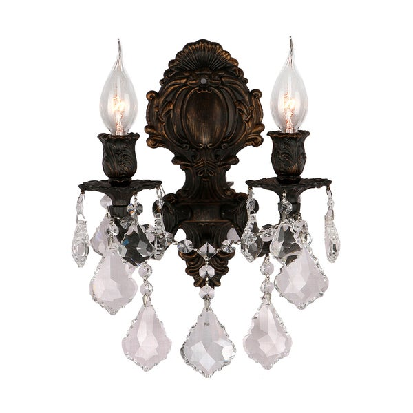 Traditional Elegance 2 light Flemish Brass Finish Crystal Wall Sconce
