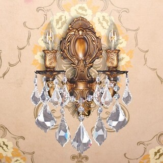 Traditional Elegance 2-light Arm French Gold Finish Crystal Candle Wall Sconce