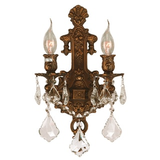 Traditional Elegance 2-light French Gold Finish Clear Crystal Candle Wall Sconce
