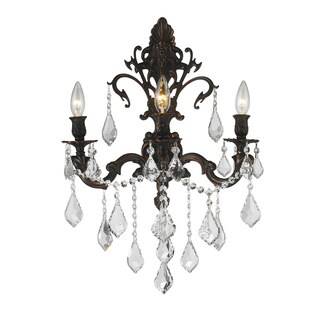 Traditional Elegance 3-light Flemish Brass Finish Crystal Candle Wall Sconce Large