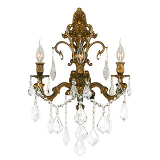 Traditional Elegance 3 Light French Gold Finish Crystal Wall Sconce