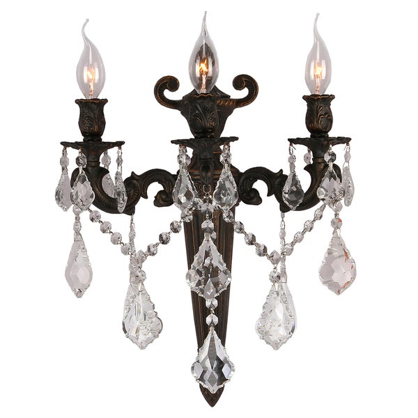 Traditional Elegance 3 light Flemish Brass Finish Crystal Wall Sconce