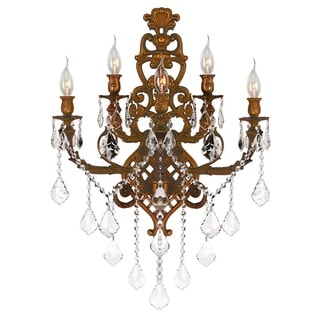 Traditional Elegance 5 light French Gold Finish Crystal Wall Sconce Light