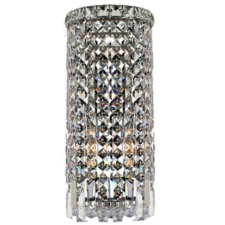 Contemporary 2 Light Chrome Finish Crystal Curved Wall Sconce Light