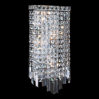 Contemporary 4 Light Chrome Finish Crystal Rectangle Wall Sconce