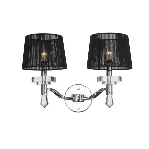 Contemporary 2 Light Chrome Finish Crystal Wall Sconce with Black String Shade