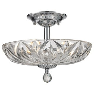 Contemporary 4 Light Chrome Finish Faceted Crystal Semi Flush Mount Ceiling Light