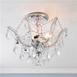 Maria Theresa 3 light Chrome Finish Crystal Shabby Chic Luxe Ceiling Light
