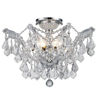 Maria Theresa 6 light Chrome Finish Crystal Shabby Chic Luxe Ceiling Light