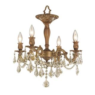 Traditional Elegance 4 light Antique Gold Finish with French Pendalogue Golden Teak Crystal Semi Flush Mount Ceiling Light