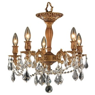 Traditional Elegance 5 Light Antique Gold Finish with French Pendalogue Crystal Semi Flush Mount Ceiling Light