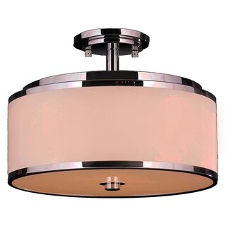 Contemporary 6 Light LED Flush Mount Ceiling Light with Bisque Drum Shade