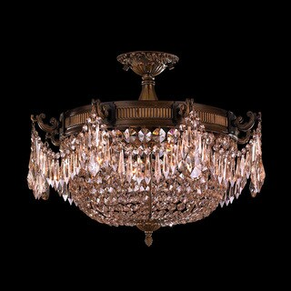 Traditional Elegance 3 Light Antique Bronze Finish with French Pendalogue Golden Teak Crystal Semi Flush Mount Ceiling Light