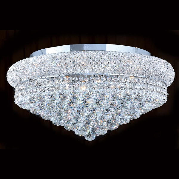 French Empire Two Light Chrome Finish And Faceted Crystal Four Round Flush Mount Ceiling Light