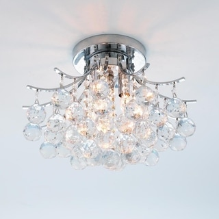 """French Empire 3 light Chrome Finish with Faceted Crystal Ball Prism Flush Mount Ceiling Light 16"""""""