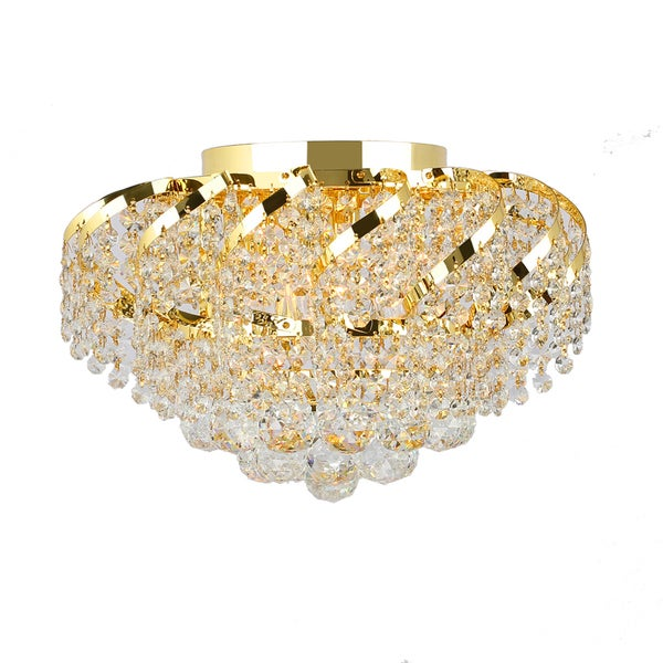 French Empire Six Light Gold Finish And Faceted Crystal Six Round Flush Mount Ceiling Light Free
