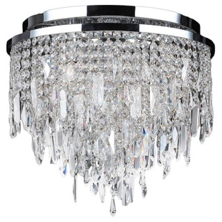 """Contemporary 5 light Chrome Finish and Faceted Crystal 16"""" Round Flush Mount Ceiling Light"""