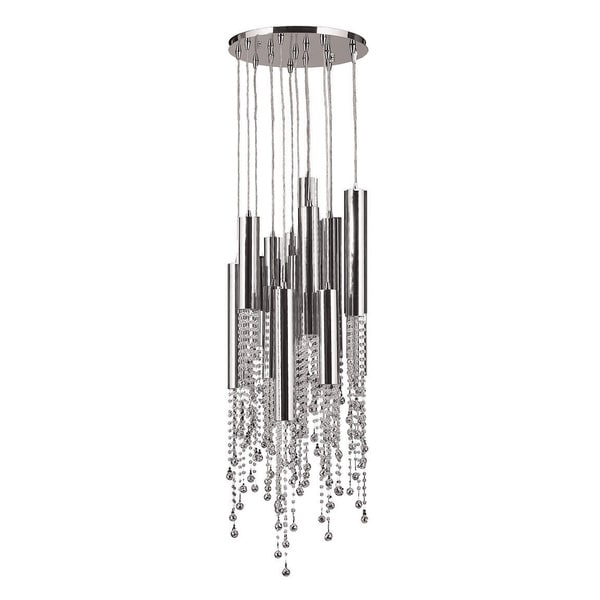 Modern 15 light LED Chrome Finish Tube and Faceted Crystal Strands Flush Mount Ceiling Light