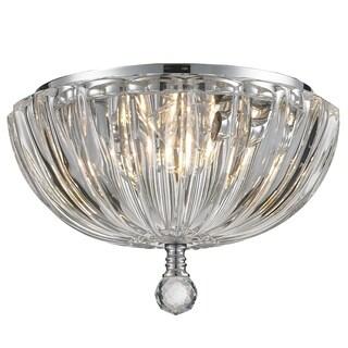 Contemporary 3 Light Chrome Finish Ribbed Crystal Bowl Flush Mount Ceiling Light