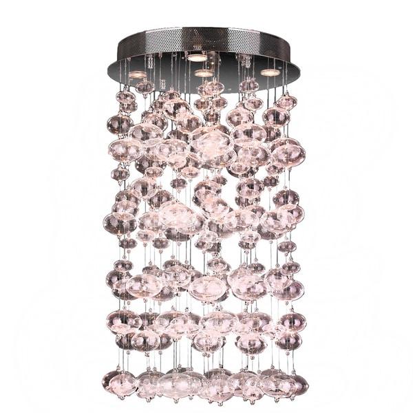 Modern 7 Light Chrome Finish and Floating Effervescence Bubble Blown Glass Flush Mount Ceiling Light