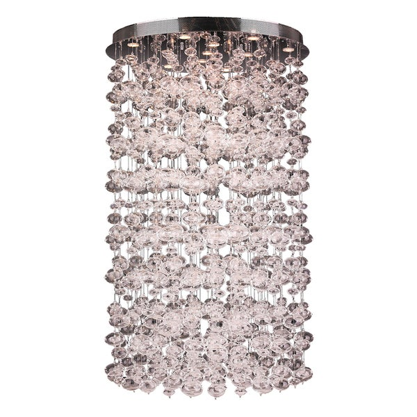 Modern 13 Light Chrome Finish and Floating Effervescence Bubble Blown Glass Flush Mount Ceiling Light