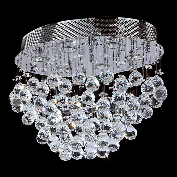 Modern 6 light Chrome Finish with Faceted Crystal Ball Prism Flush Mount Ceiling Light 20""