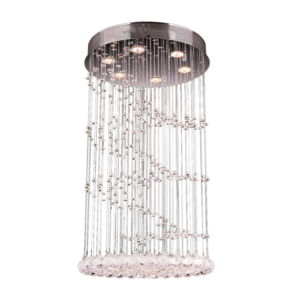 Modern 6 Light Chrome Finish and Faceted Crystal Helix Spiral Flush Mount Ceiling Light