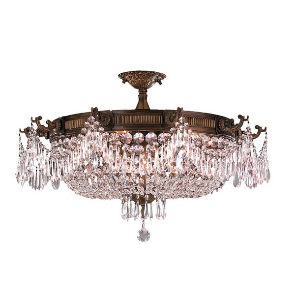 "Traditional Elegance 10 Light Antique Gold Finish with Clear Crystal 30"" Basket Semi Flush Mount Ceiling Light"