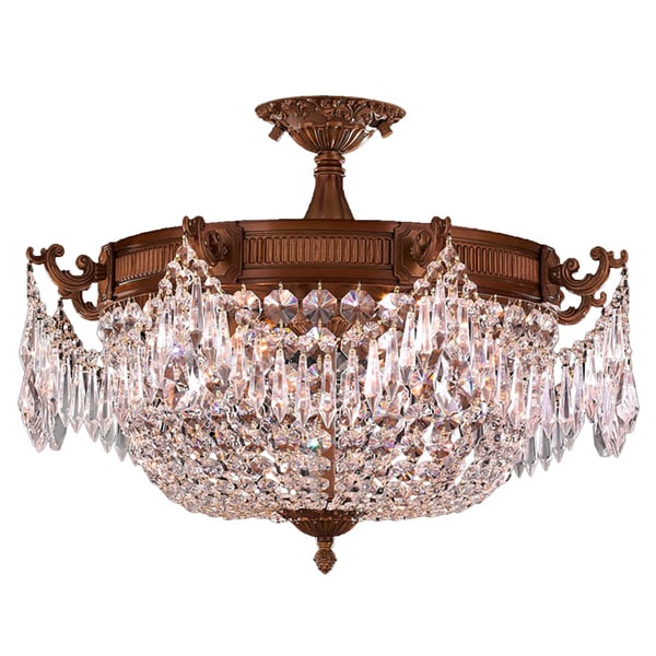 "Traditional Elegance 3 Light Antique Gold Finish with Clear Crystal 20"" Basket Semi Flush Mount Ceiling Light"