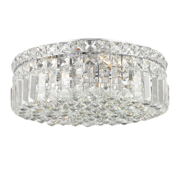 Contemporary Four Light Polished Chrome Finish With Faceted Crystal Ball Prism Four Round Flush