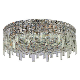 """Contemporary 6 Light Polished Chrome Finish with Faceted Crystal Ball Prism 20"""" Round Flush Mount Ceiling Light"""