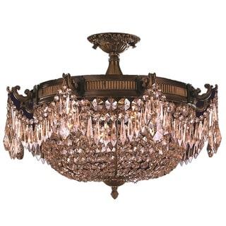 """Traditional Elegance 4 Light Antique Bronze Finish with Golden Teak Crystal 24"""" Basket Semi Flush Mount Ceiling Light"""