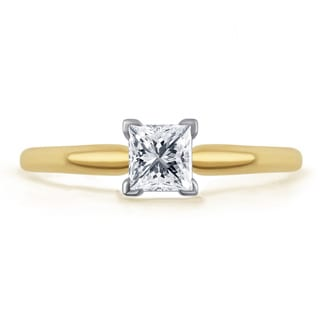 Divina 14k Gold 1/2ct TDW Princess-cut IGL-certified Diamond Solitaire Engagement Ring (H-I, I1-I2)