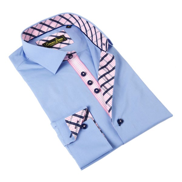 Banana Lemon Men's Blue/ Pink Patterned Trim Button-down Shirt