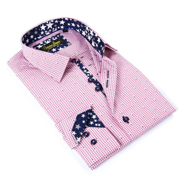 Banana Lemon Men's Pink Patterned Button-down Shirt